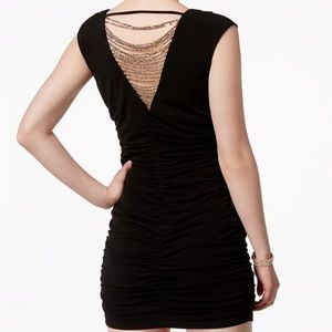 Black Ruched Fitted Dress